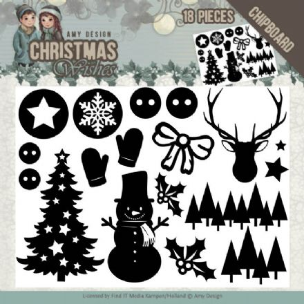 ADCB1003 ~ Chipboard Christmas Shapes ~ Christmas Wishes  ~ Amy Design